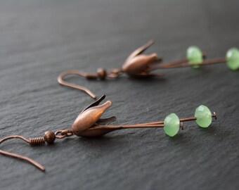 Earrings - Vintage Retro Inspired Flower - Light Green