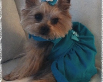 Teal Dog Dress, XS, S... Dog Dress, Teal Dog Dress, Custom Dog Dress, Designer Dog Dress, Dog Clothes, Couture Dog Dress.