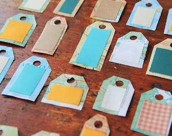 Small Upcycled Map Gift Tags - set of 20 - map hang tags