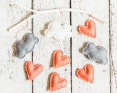 Simple Modern Baby Mobile - Clouds and Heart Raindrops Hanging from a Branch - Coral, White and Heather Gray Felt