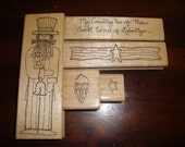 My Country 'tis of Thee Set of 5 Wood Mounted Stamps (Gently Used)