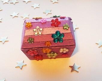 Miniature Treasure Chest Trinket Box - Flower Power