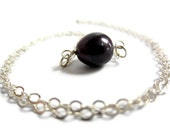 Black pearl necklace. Sterling silver chain & solitary purple pearl bar necklace. Bridesmade gift. Wedding necklace.