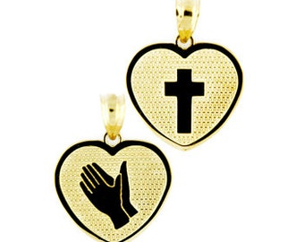 14k gold reversable religious heart pendant.