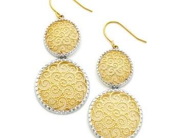 14k gold two tone earrings.