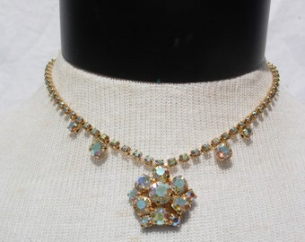 Vintage Gold Tone and Aurora Borealis Rhinestone Choker Necklace