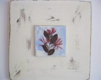 "Original Encaustic Painting with Pressed Flower - ""Loropetalum"""