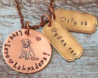 Personalized Hand Stamped Lab, Labrador Retriever Necklace - Dog Jewelry, Exclusive, Unique Dog Gift