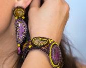 earrings embroidery bead purpurite,quartz, simbircite. purple  yellow. Beadwork