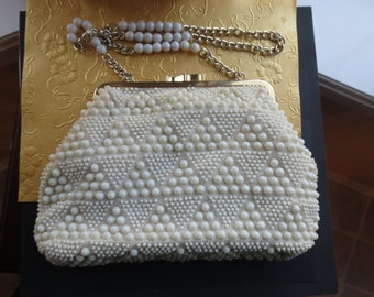 Vintage white beaded purse. 1960s. Mad Men. Retro.
