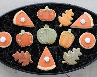 Thanksgiving Cookies, Custom Cookies, Sugar Cookies, Pumpkin Pie, Fall Cookies, Thanksgiving Cookie Favors