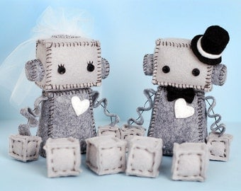 Bride and Groom Robot Plush with Top Hat, Veil and White Heart, Plush Robots