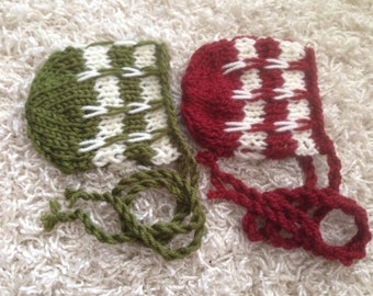 Christmas newborn knit bonnets two color choices available