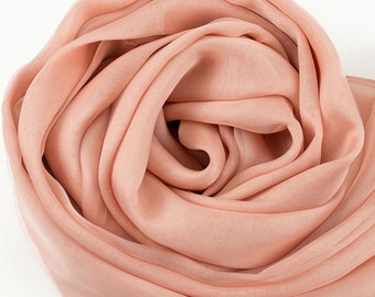 Light Salmon Color Silk Chiffon Scarf - Sandy Brown Silk Chiffon Scarf - Pale Orange Silk Chiffon Scarf - AS216