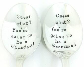Pregnancy Announcement Grandma Grandpa Spoon Set - Hand Stamped Vintage Silverware, gift under 30