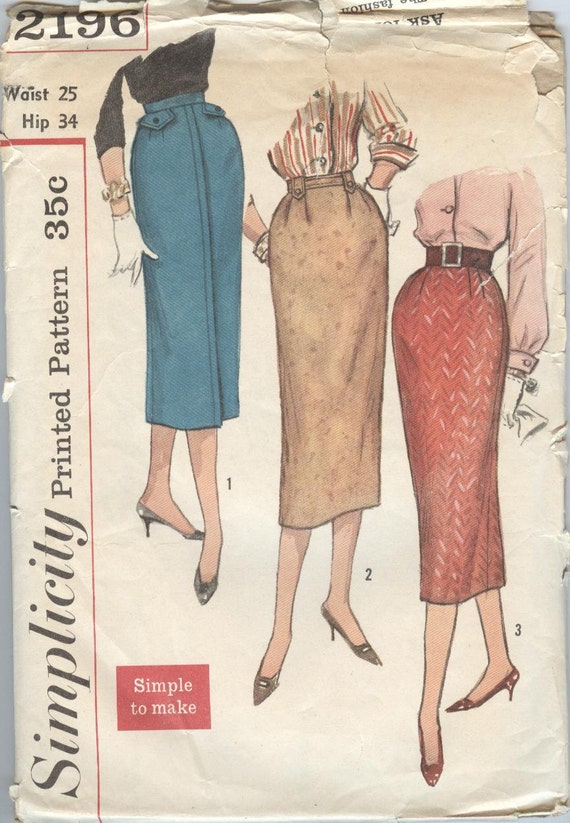 vintage 1950 s slim skirt pattern simplicity by theyesteryears