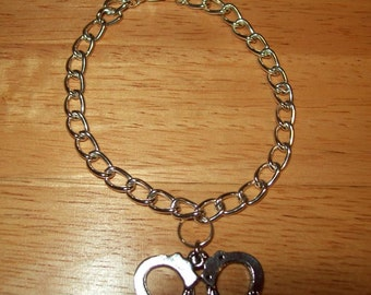 """Bracelet with Handcuffs, 7"""" with Lobster Claw Clasp, Inspired by Fifty Shades of Grey"""