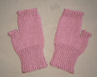Hand knit Fingerless Gloves - Mauve