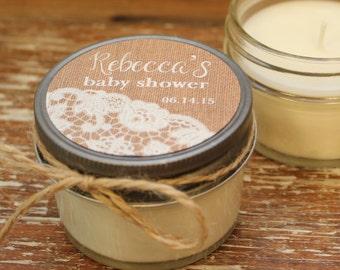 Set of 12 - 4 oz Baby Shower Favor Candles - Burlap & Lace Label - Girl Baby Shower Favor // Boy Baby Shower Favors // Soy Candle Favor