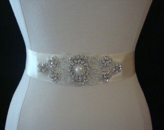 Bridal Sash - Wedding Dress Sash Belt - Ivory Rhinestone Sash - Ivory Rhinestone Bridal Sash
