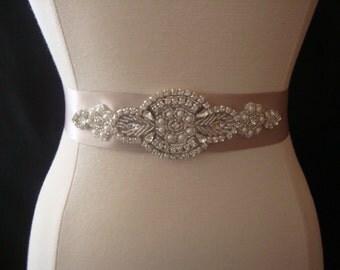 Bridal Sash - Wedding Dress Sash Belt - Rhinestone and Pearl Taupe Wedding Sash - Taupe Rhinestone Bridal Sash