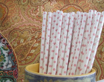 """100 Baby Pink Polka Dot Paper Straws - 7 3/4"""" - Eco-Friendly Biodegradable Paper Drinking Straws - Wedding Party Shower Receptions"""