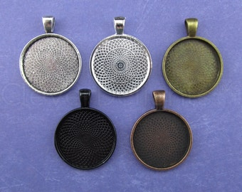"""100 - 1 Inch Round Pendant Trays - Mix and Match - Bronze Copper Silver Black - Vintage Antique Style Pendant Blanks Bezel Setting 25 mm 1"""""""
