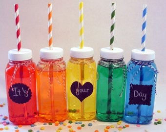10 Milk Bottles Clear Plastic bottles and Lids with Straw Holes, including labels perfect for parties