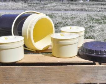Vintage Bene-Casa Brown and Cream Thermos Set