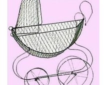 Vintage Baby Wire Carriage Centerpiece, Vintage decor, Baby Buggy, Antique baby carriage. Baptism Centerpiece. Rustic Baby carriage