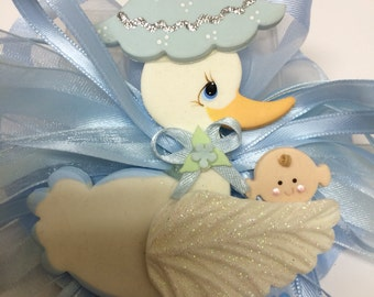 Mom to be Corsage. Baby Boy Shower. Baby shower stork.stork corsage.its a girl.its a boy. Stork theme. Stork.