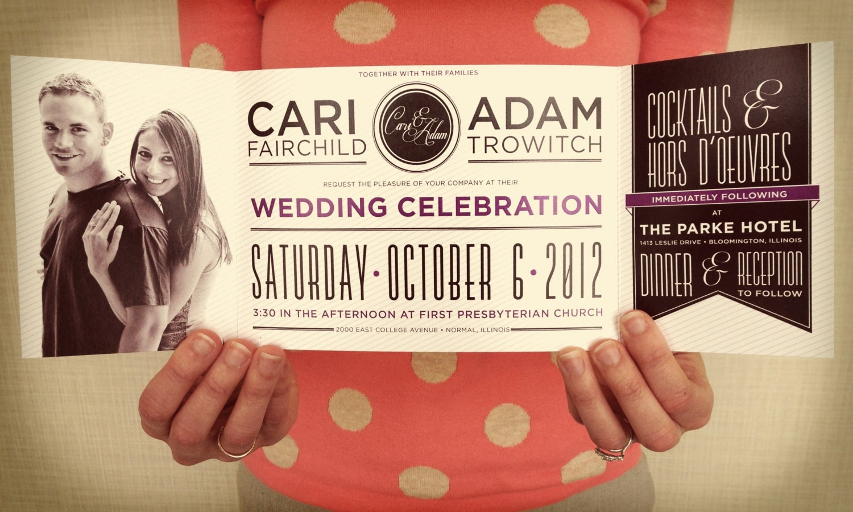 Cheap Wedding Pocket Invitations: Sample: Custom Fold Wedding Invitation