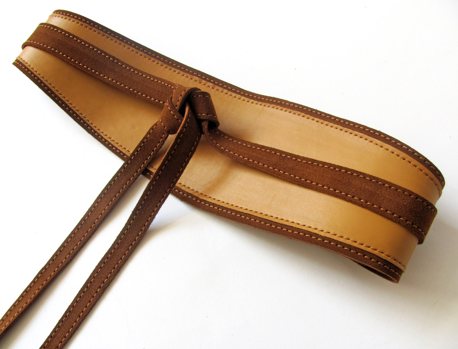 camel and brown leather obi belt beige color wide waist belt