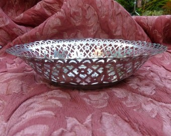 Nickel Silver Filigree Basket.1940s.German Silver Antique Basket.