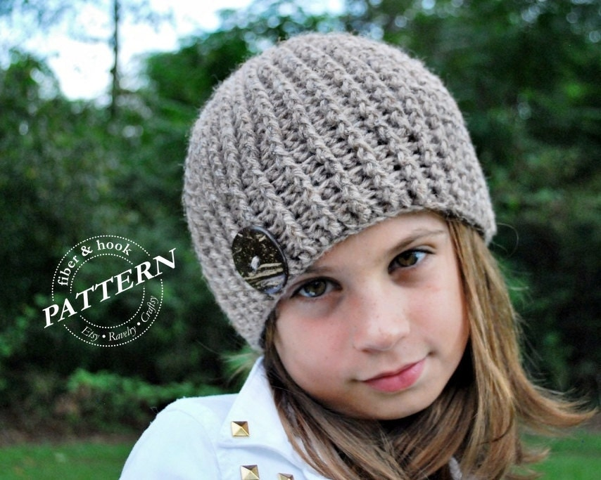 Crochet Ribbed Hat : CROCHET PATTERN Crochet Ribbed Beanie Pattern by FiberAndHook