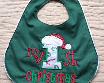 Baby's First Handmade Bib - My 1st Christmas