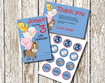 Farm Animal Stack Birthday PARTY PACK -  Printable and Personalised