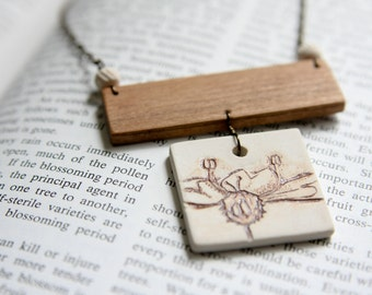Necklace - Ceramic and Wood Jewelry - White Blossom