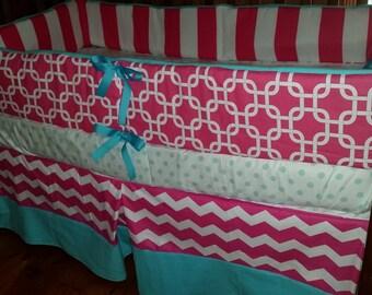 Hot pink and Aqua Gotcha/Stripe/Dot/Chevron crib bedding set