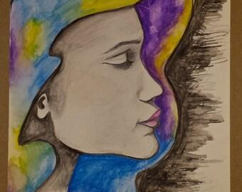 "Poster ""She moon"" printed watercolour drawing"