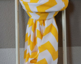 Chevron Infinity Scarf - Cotton Jersey Knit - Buttercup Yellow & White - BEST SELLER
