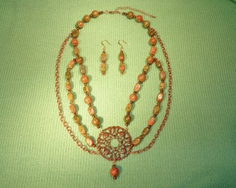 Unikite Necklace And Earring Set - Enhanced With A Copper Chain And Glass Copper Beads - Very Elegant .