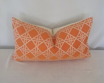 Orange and Ivory Geometric Print Lumbar Pillow Cover