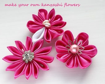 How to make Flowers, Kanzashi Tutorial, Flowers Pattern, DIY Kanzashi, PDF Tsumami Kanzashi Tutorial Book, Kanzashi PDF Instruction