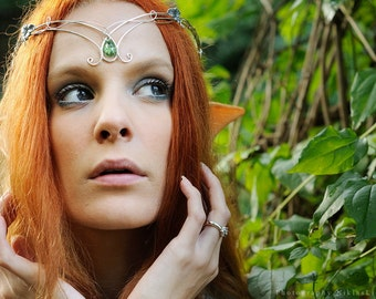 Medieval elven green silver circlet tiara headress crown leaf