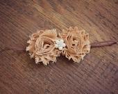Fall colored rosettes on skinny elastic headbands