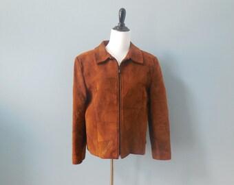 Vintage 80s SUEDE coat PATCHWORK JACKET leather coat womens Medium Large