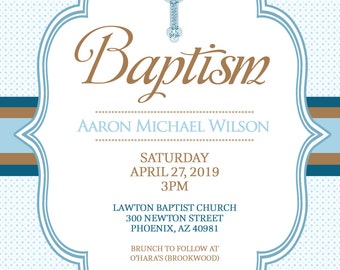 BAPTISM Invitation Baby Boy Christening Invitation