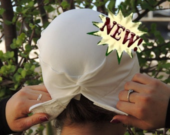 White Volumizer & No Slip Headband-All In One Hat-Great under tichel,head scarves, wigs,chemo,head coverings volumizing hijab headpiece bun