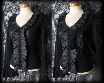 Gothic Black Frilled Hook Up NIGHTMARE Fitted Top Blouse 8 10 Victorian Vintage